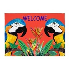 Parrot Heads Welcome 5'x7'area Rug