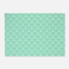 Mint and White Scallop Pattern 5'x7'Area Rug