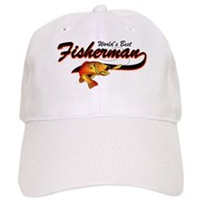 World's Best Fisherman Red Baseball Cap