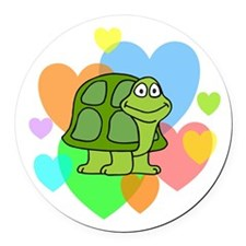 Turtle Hearts Round Car Magnet