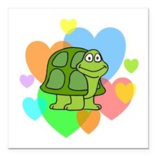 "Turtle Hearts Square Car Magnet 3"" x 3"""