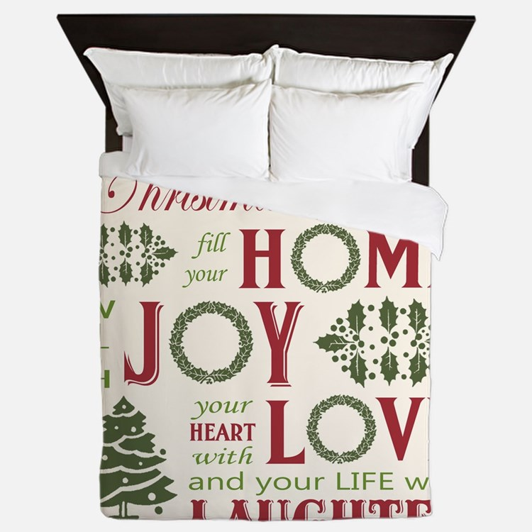 Vintage Christmas word collage Queen Duvet