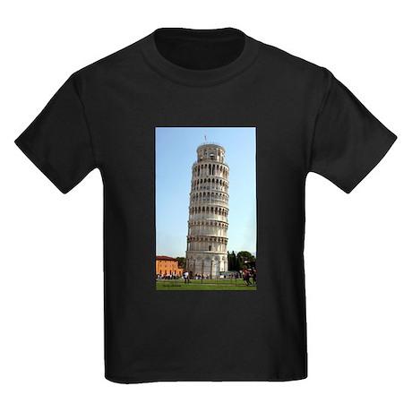 Leaning Tower of Pisa Kids Dark T-Shirt