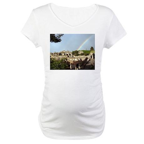 Rainbow over Pompeii Maternity T-Shirt