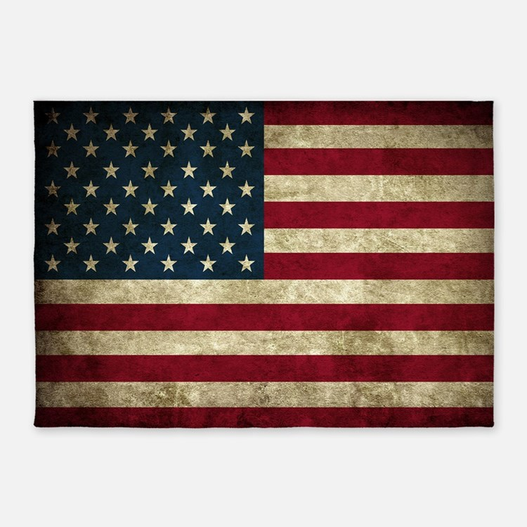 USA Flag - Grunge 5'x7'Area Rug