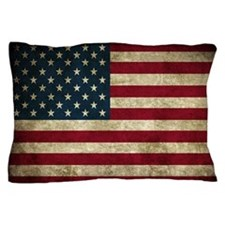 USA Flag - Grunge Pillow Case