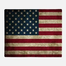 USA Flag - Grunge Throw Blanket