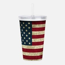 USA Flag - Grunge Acrylic Double-wall Tumbler