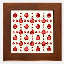 Red Ladybug Patterns Framed Tile