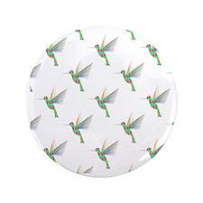 """Rainbow Hummingbird Pattern 3.5"""" Button"""