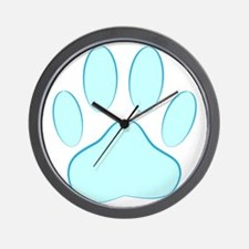 Blue Dog Pawprint Wall Clock