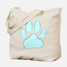 Blue Dog Pawprint Tote Bag