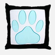 Blue Dog Pawprint Throw Pillow