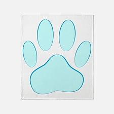 Blue Dog Pawprint Throw Blanket