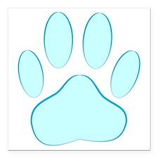 "Blue Dog Pawprint Square Car Magnet 3"" x 3"""