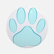 Blue Dog Pawprint Round Ornament
