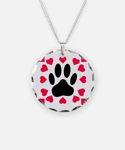 Black Dog Paw Print With Hea Necklace