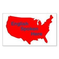 English Spoken Here Rectangle Decal