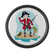 The pirate kid Large Wall Clock