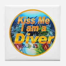 Kiss Me Diver Tile Coaster