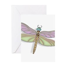 Lavender and Green Dragonfly Greeting Cards