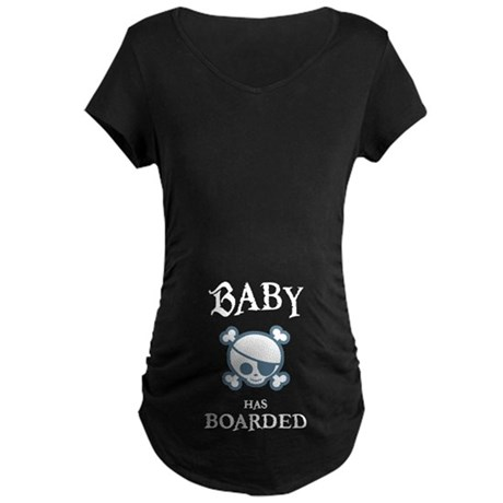 Baby Has Boarded Maternity Dark T-Shirt