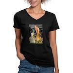 Fairies & Wheaten Terrier Women's V-Neck Dark T-Sh