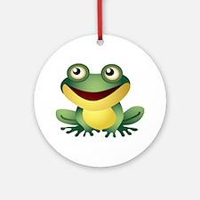 Green Cartoon Frog-4 Ornament (Round)