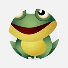 "Green Cartoon Frog-4 3.5"" Button (100 pack)"