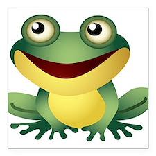 "Green Cartoon Frog-4 Square Car Magnet 3"" x 3"""