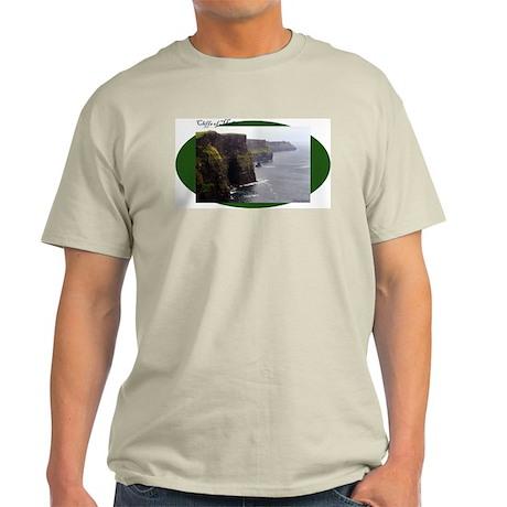 Cliffs of Moher on green oval Light T-Shirt