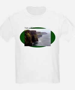 Cliffs of Moher on green oval T-Shirt