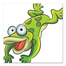 """Jumping Frog Square Car Magnet 3"""" x 3"""""""