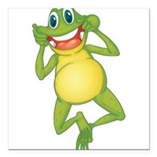 """Frog with Big Smile Square Car Magnet 3"""" x 3"""""""