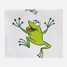 Frog with Dragonfly Throw Blanket
