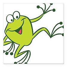 "Dancing Frog Square Car Magnet 3"" x 3"""