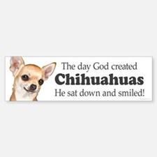 God smiled chihuahuas Sticker (Bumper)