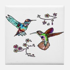 JEWELED HUMMINGBIRDS AND FLOW Tile Coaster