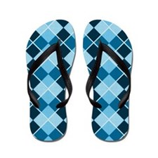 Blue Argyle Flip Flops