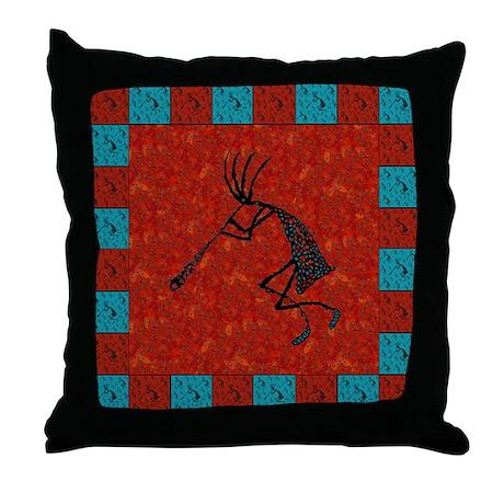 Kokopelli Mosaic Tiles Red Co Throw Pillow