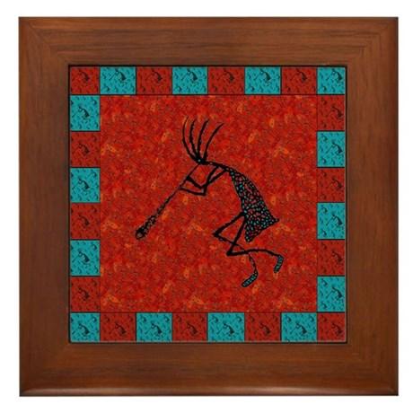 Kokopelli Mosaic Tiles Red Co Framed Tile