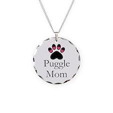 Puggle Dog Mom Paw Print Necklace