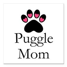 "Puggle Dog Mom Paw Print Square Car Magnet 3"" x 3"""
