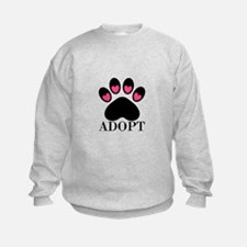 Adopt Puppy Dog Paw Print Sweatshirt