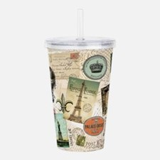Vintage Travel collage Acrylic Double-wall Tumbler