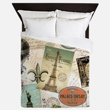 Vintage Travel collage Queen Duvet