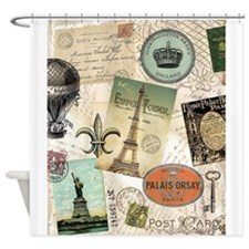 Vintage Travel collage Shower Curtain