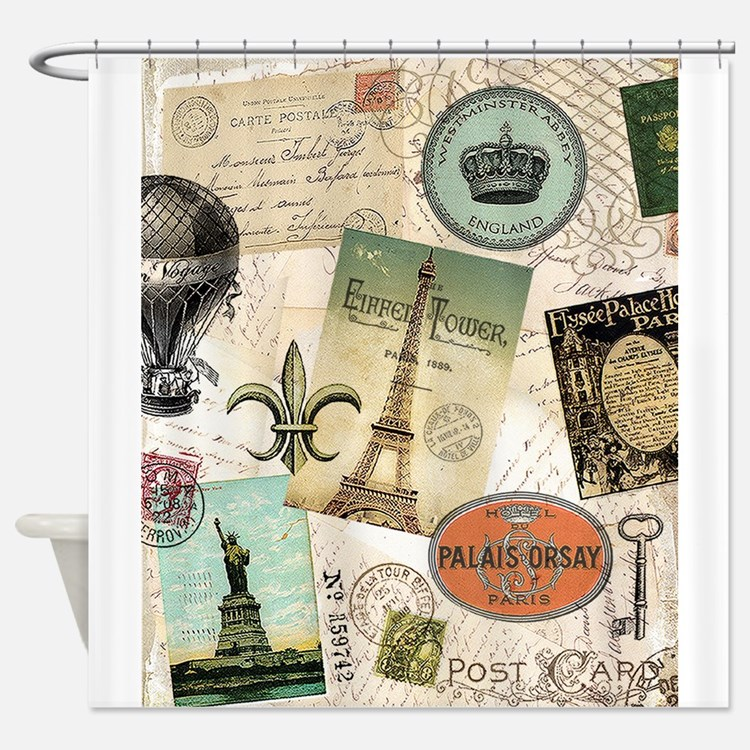 Vintage Travel collage Shower Curtain
