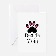 Beagle Mom Paw Print Greeting Cards