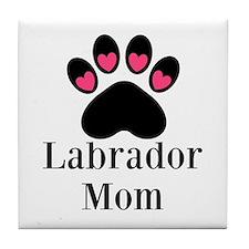 Labrador Mom Paw Print Tile Coaster